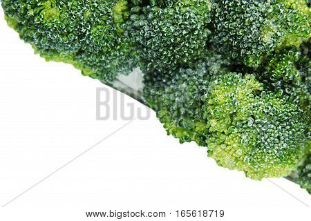 Border of wet fresh green broccoli with water drops closeup on white background. Isolated. Healthy vitamin food.