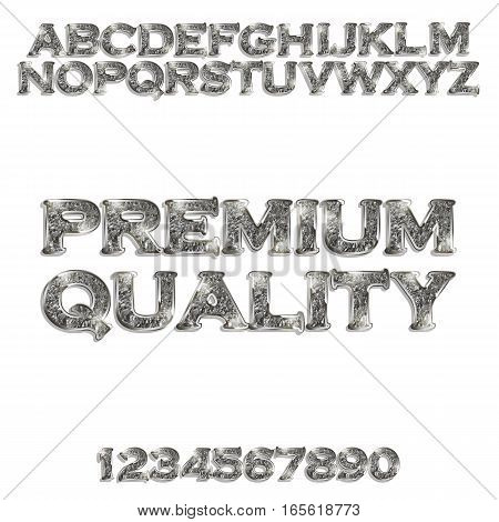 Premium quality. Silver glowing alphabet and numbers on a white background. Vector illustration for your graphic design.