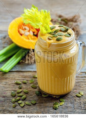 Pumpkin Smoothie With Celery, Bananas And Seeds.
