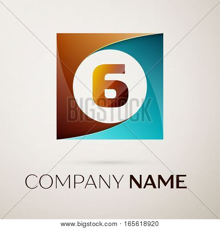 Number six vector logo symbol in the colorful square on grey background. Vector template for your design
