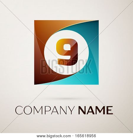 Number nine vector logo symbol in the colorful square on grey background. Vector template for your design