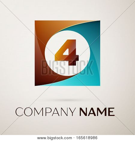 Number four vector logo symbol in the colorful square on grey background. Vector template for your design