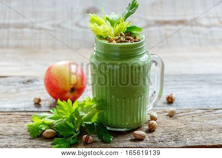 Healthy Green Smoothie Spinach, Apple And Banana.