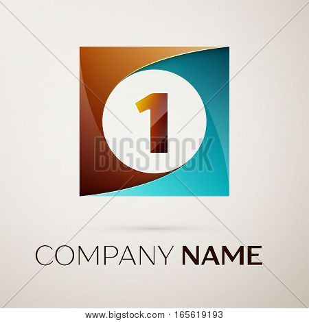 Number one vector logo symbol in the colorful square on grey background. Vector template for your design