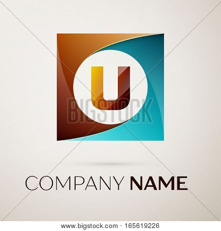 Letter U vector logo symbol in the colorful square on grey background. Vector template for your design