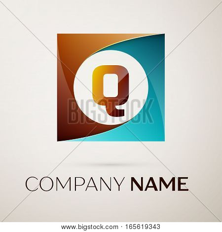 Letter Q vector logo symbol in the colorful square on grey background. Vector template for your design