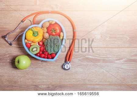 Heart Shaped Dish With Vegetables And Warm Sun Flare