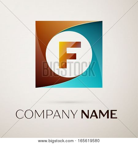 Letter F vector logo symbol in the colorful square on grey background. Vector template for your design
