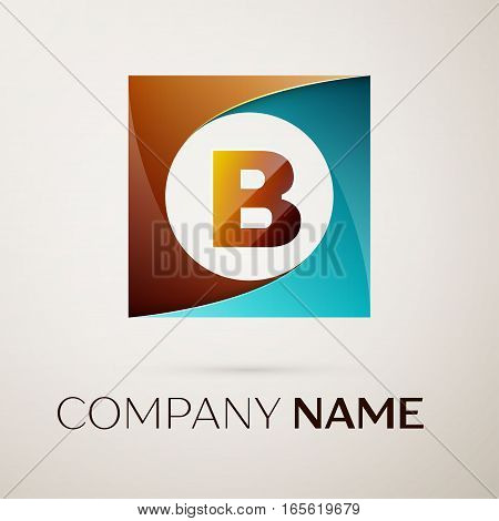 Letter B vector logo symbol in the colorful square on grey background. Vector template for your design