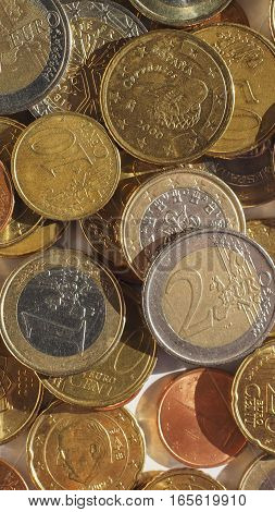 Euro Coins Background - Vertical