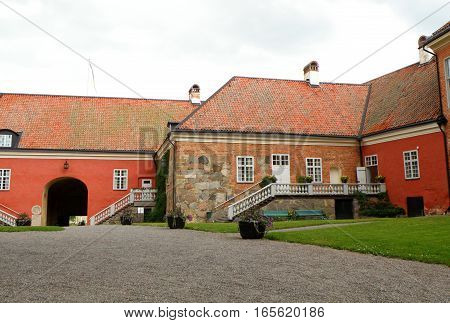 The Courtyard of Gripsholms Slott, Medieval Castle in Mariefred of Sweden