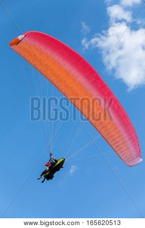Paragliding In Blue Sky With Clouds, Tandem