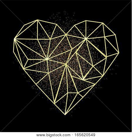 Happy Valentine's day greeting card. Heart shape in low poly style with golden sand behind the heart. Vector modern illustration. EPS10