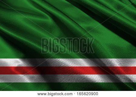 Chechen republic flag 3D illustration symbol.  .