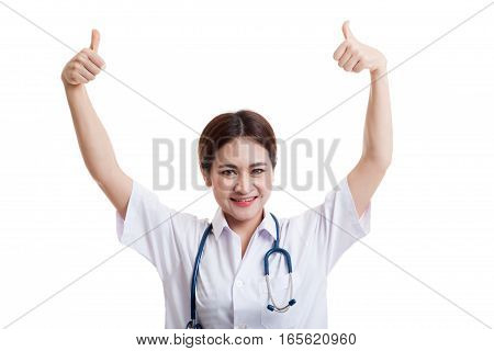 Young Asian Female Doctor Show  Two Thumbs Up.