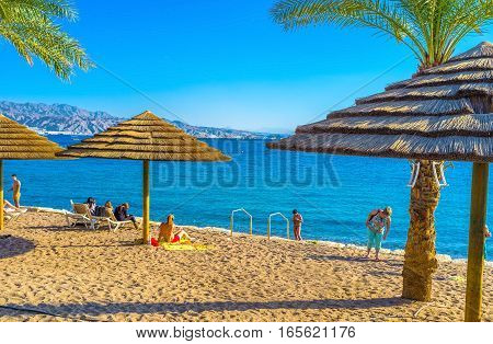 EILAT ISRAEL - FEBRUARY 23 2016: The best resort in Israel boasts clean sand hot sea and bright sun all year long on February 23 in Eilat.