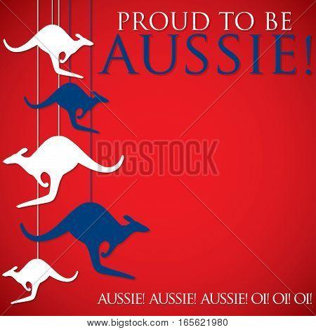 Hanging Kangaroo Australia Day Card In Vector Format.