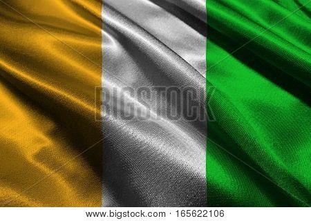 Cote d'ivoire flag 3D illustration symbol. ,Original and simple Ivory Coast flag.Nation flag