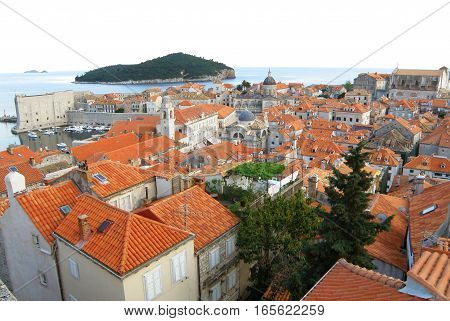 Stunning view of orange tiled roofs of Dubrovnik Old City, Croatia