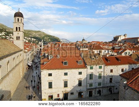 The Bell Tower of Franciscan Church and Historical Buildings of the Old City of Dubrovnik, Croatia