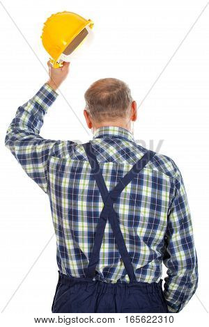 Picture of an engineer standing backward on an isolated background