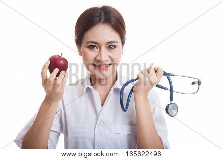 Young Asian Female Doctor Hold  Apple And Stethoscope.