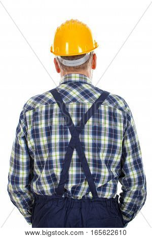 A picture of an engineer standing backward