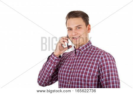 Picture of a handsome young man making a phone call