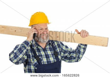Picture of a happy engineer talking on the phone