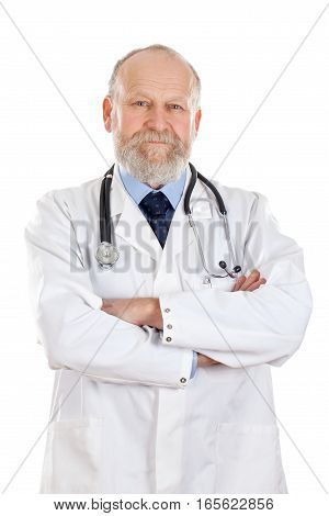 Portrait of a confident doctor posing on an isolated background