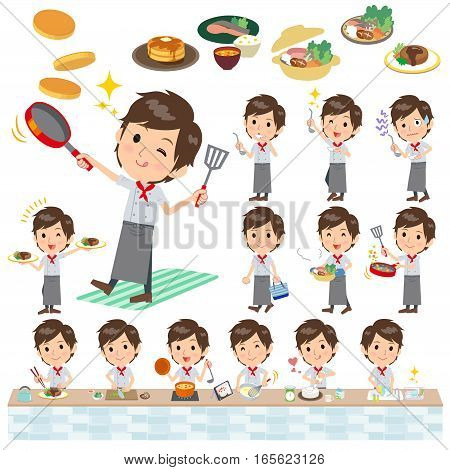 Set of various poses of Western cuisine cook man cooking