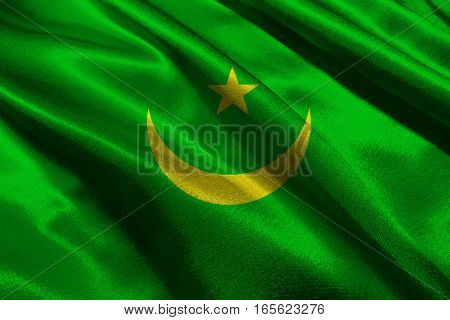 Mauritania national flag 3D illustration symbol. Mauritania flag