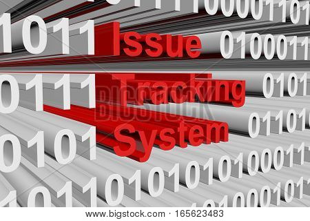Issue tracking system in the form of binary code, 3D illustration