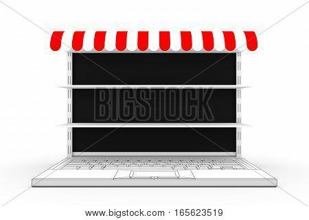 online market shelves white background 3d illustration