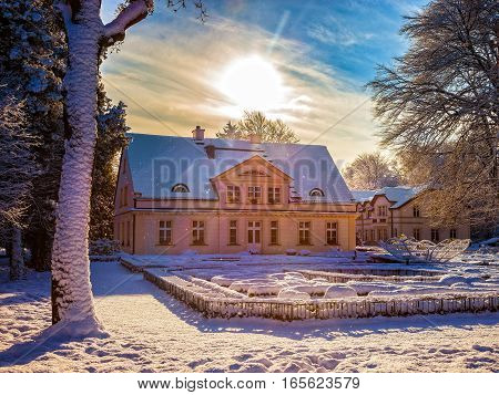 Snow covered city park in Oliwa Poland.