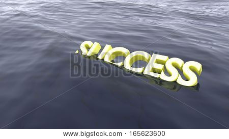 The yellow word success swimming in the ocean starting to sink failure concept 3D illustration