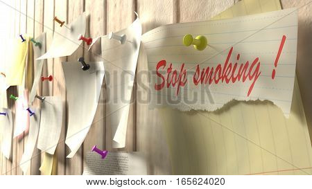 Reminder to quit smoking pinned to a kitchen wall 3D illustration