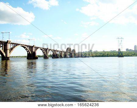 railway bridge across the Dnieper river in Dnepropetrovsk