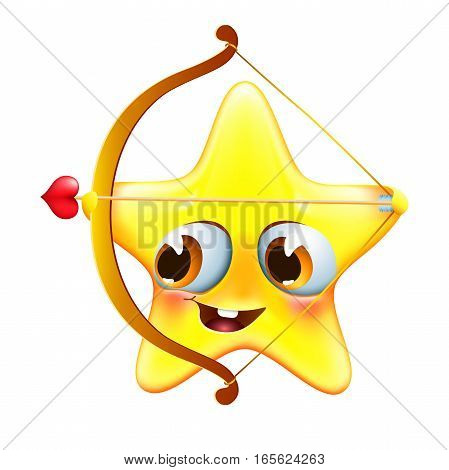 funny amur star with bow and arrow congratulates with valentine's day