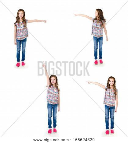 Collection of photos cute little girl is pointing to the side isolated on a white