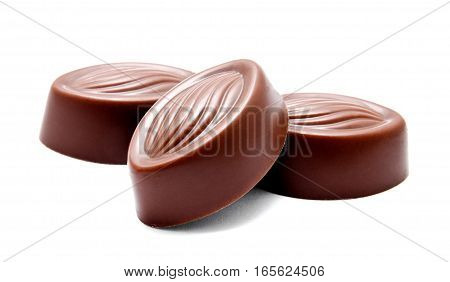 Assortment of chocolate candies sweets isolated on a white background