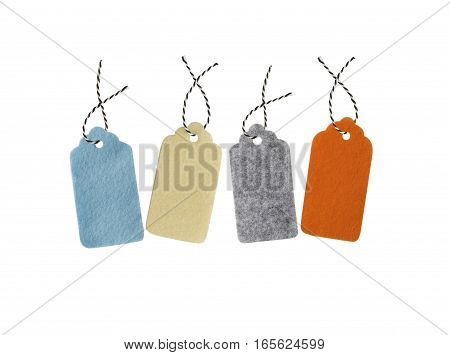Gift tags isolated on white background. Sale labels. Price tags. Special offer and promotion. Store discount. Shopping time. Label from different color felt.