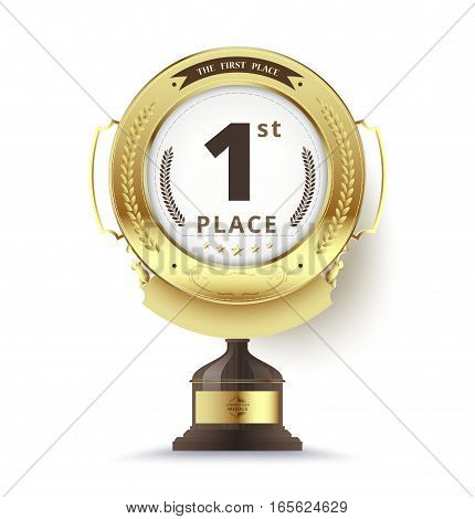 Gold Trophy For First Place. Vector Illustration