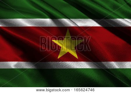 Suriname flag 3D illustration symbol. Suriname flag