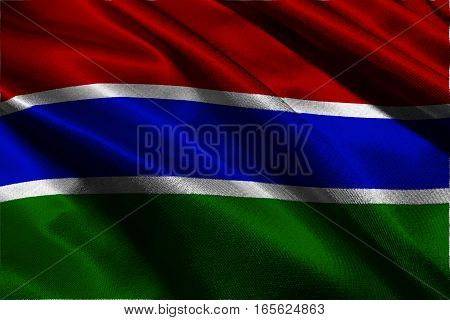 Gambia national flag 3D illustration symbol. Gambia national flag
