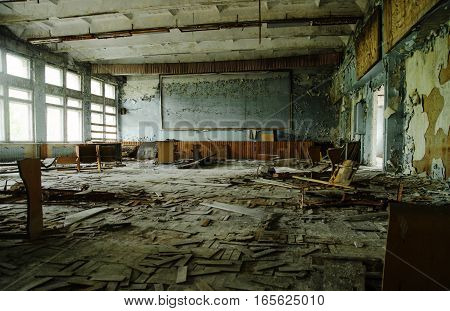 Abadoned School Class Room At Chernobyl City Zone Of Radioactivity Ghost Town.