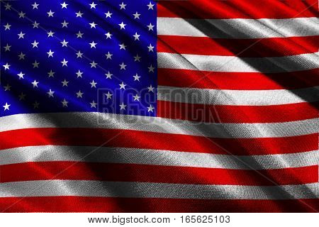 American flag ,USA national flag 3D illustration symbol.