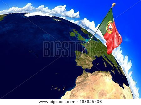 Portugal national flag marking the country location on world map. 3D rendering, parts of this image furnished by NASA