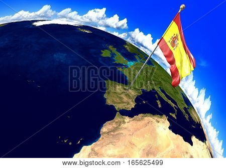 Spain national flag marking the country location on world map. 3D rendering, parts of this image furnished by NASA