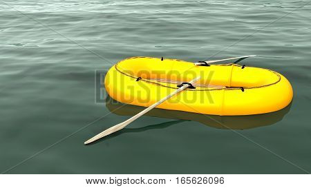 Yellow rubber boat swimming lonely on a vast green ocean 3D illustration